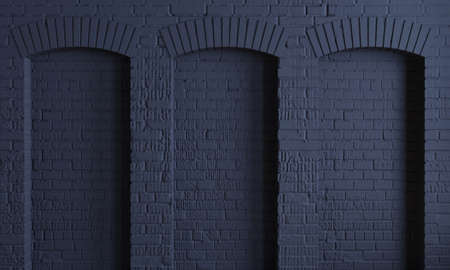 3d illustration. Arched dark wall background in the loft style.