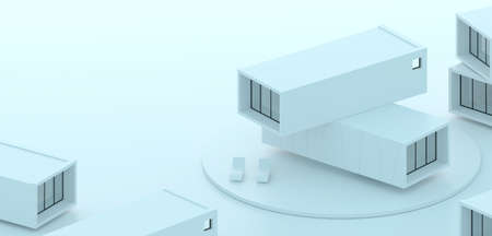 3d illustration. Conceptual background banner. Container houses. Modular architecture Banque d'images