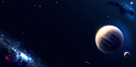 Fantastic landscape and sky. Wallpaper with space planets and galaxies. Background Illustration