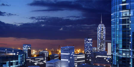 3d illustration. Panorama of a modern metropolis on the night. Skyscrapers and facades. Wallpaper background banner