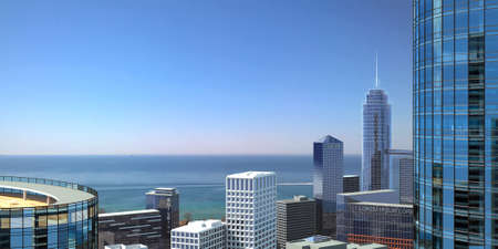 3d illustration. Panorama of a modern metropolis on the ocean. Skyscrapers and facades. Wallpaper background banner
