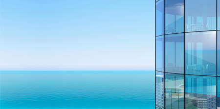 3d illustration. Facade of a skyscraper and sea view. Modern office or hotel in a metropolis Banque d'images
