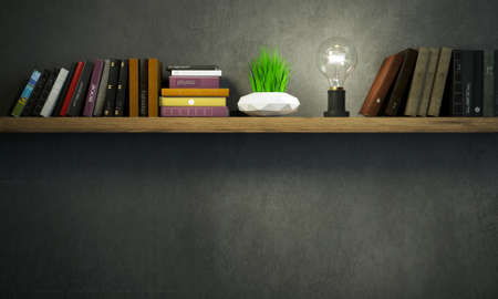 3d illustration. Vintage bookshelf with lamp and plant in a dark room. Dark background banner