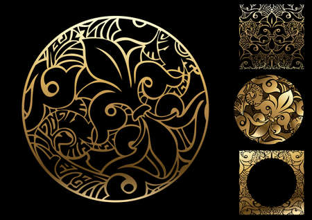 Sign symbol. Vintage circular golden floral oriental ornament. Vector graphics