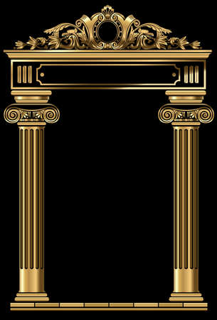 Vector arch. Cover for postcard, certificate, diploma. Golden vintage classic arch frame Banque d'images - 138982555