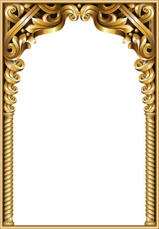 Golden classic rococo baroque frame. Illustration