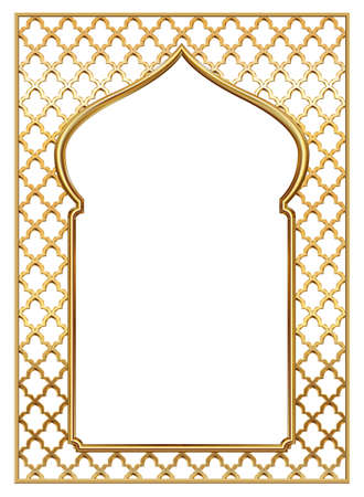 Vector arch. Cover for postcard, certificate, diploma. Golden vintage oriental arch frame Illustration