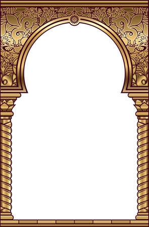Vector arch. Cover for postcard, certificate, diploma. Golden vintage oriental arch frame