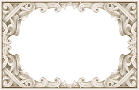 Vintage classic rococo baroque frame. Vector graphics. Luxury frame for painting or postcard cover Illustration