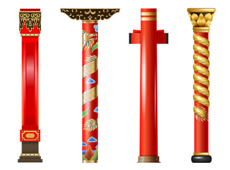 Vector set of red oriental columns of Chinese and Japanese, Thai. Pillars with decor