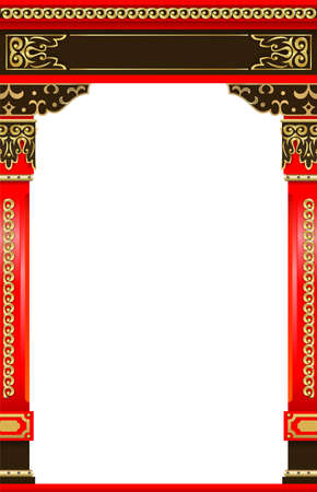 Red wooden carved arched entry portal in Japanese or Chinese style.