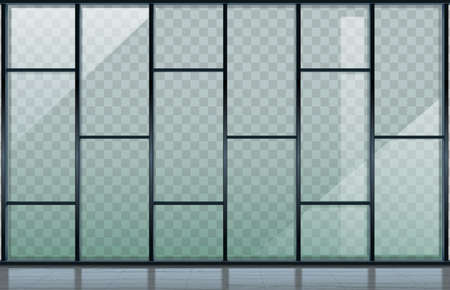 Vector graphics with transparency. Modern glass black facade of airport building, shopping center, office