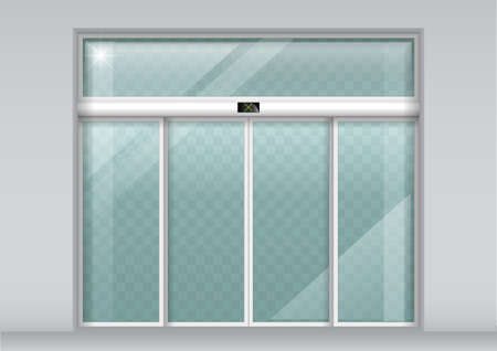 The facade of a modern shopping center or station, an airport with automatic sliding doors. Vector graphics Illustration