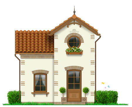 Beautiful white little house with trees in pots. Vector graphics