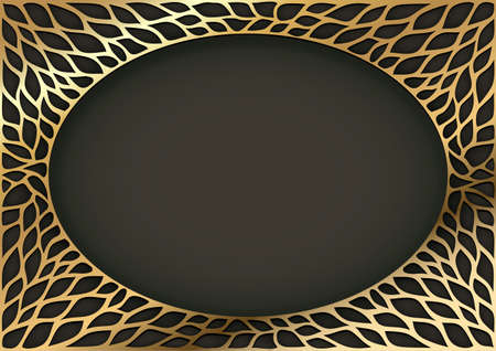 Golden oval vintage frame with floral ornaments