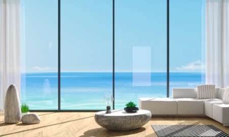 Panoramic window villa with blue sea views