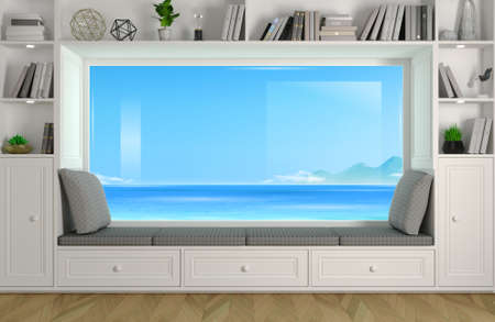 3d illustration. Wide panoramic window sofa in the room. Classic interior, cabinets, shelves and decor. Natural sea landscape Banque d'images