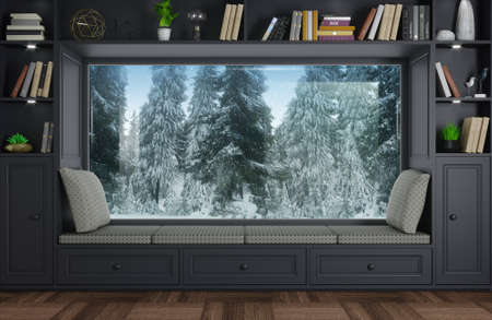 3d illustration. Wide panoramic window sofa in the room. Classic interior, cabinets, shelves and decor. Natural forest landscape