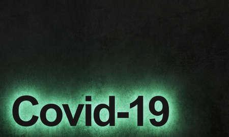 3d illustration. Banner dark concrete underground background graffiti coronavirus covid 19