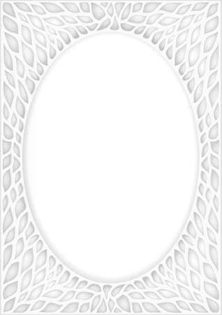 White vintage oriental oval frame