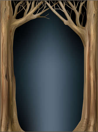 Eco frame from tree trunks and branches. Decorative frame vignette from trees. Photo frame applique. Natural forest landscape background