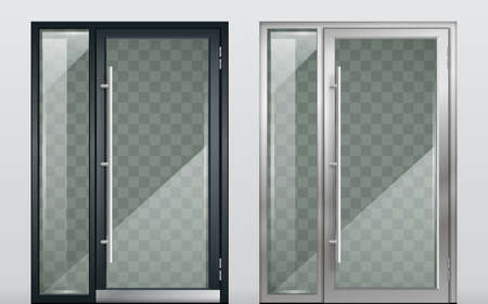 Set of modern entrance doors black. With tinted transparent glass. Vector graphics Illusztráció