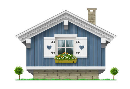 Traditional Finnish Scandinavian wooden house. A hotel or a sauna. House for greeting card or illustration. Vector graphics