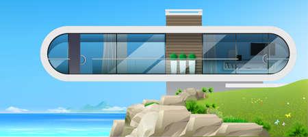 Modern villa by the blue sea banner