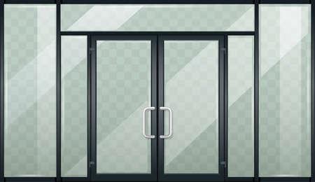 Black modern entrance double doors transparent glass
