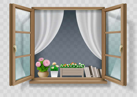 Brown Classic wooden open window with transparent glass. Vector graphics