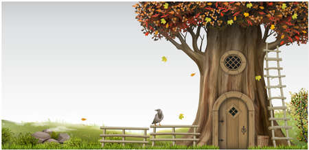 A fabulous legendary landscape with an old oak tree with an eco house. Gnome's hut. Autumn and foggy nature