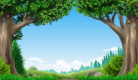 Banner with natural landscape. Fantasy style. Trees and hills. Illustration of a fairy tale. Vector Stok Fotoğraf