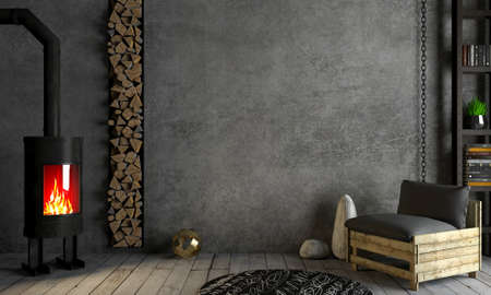 3d illustration. Brutal steel fireplace in the interior in the style of loft. Heating technology. Background old concrete on old wall