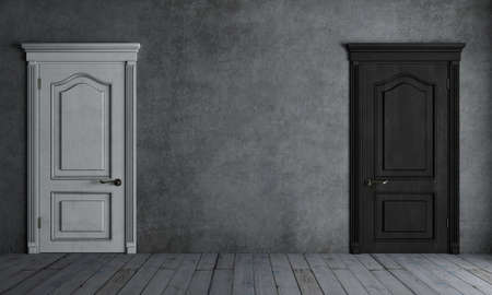 3d illustration. Door black and white on a wall background concept