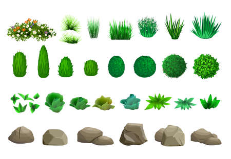 Set of elements for landscape design in isometric schemes. Vector graphics. Bushes, trees, rocks