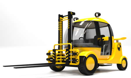 3d illustration. Yellow modern futuristic warehouse forklift on a white background.