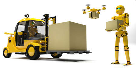 3d illustration. Delivery service of the future. Robots and drones in the warehouse. Warehouse loader. Cargo delivery and transport.