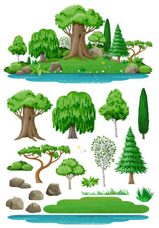 Set of plant trees for landscape design. Vector graphics. Island and lake. Cute fairy forest or park. Vectores