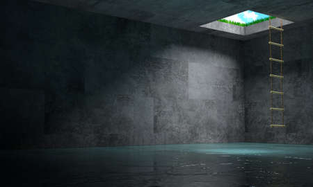 3d illustration. Psychological concept light at the end of the tunnel. Labyrinth and exit. Exemption. Stok Fotoğraf