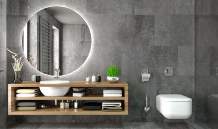 3d illustration. Modern glass shower room in loft style. Ceramic tile finishing. Home and interior. Glass doors. Decor and equipment