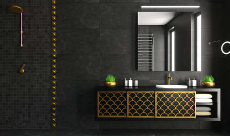 3d illustration. Modern glass shower room black and gold. Ceramic tile finishing. Home and interior. Glass doors. Decor and equipment