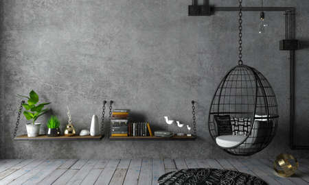 3d illustration. Modern interior in loft style hanging chair cocoon background old wall. Furniture and shelves. Bookcase. Studio for creativity