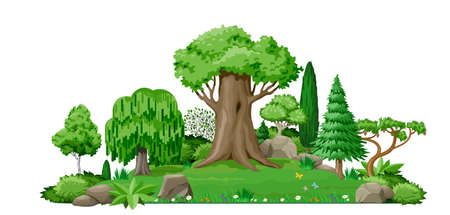 Set of plant trees for landscape design. Vector graphics. Island and lake. Cute fairy forest or park. Çizim