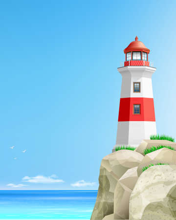 Realistic lighthouse on a green hill above the sea. Postcard poster banner or Wallpaper. Vector illustration.