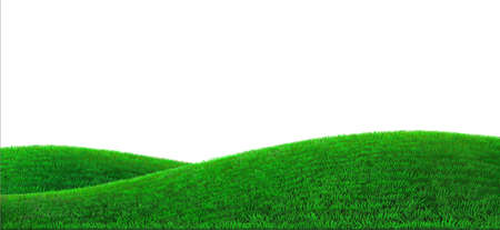Background green hills vector. Realistic eco natural landscape. Lawn grass and plants Ilustração