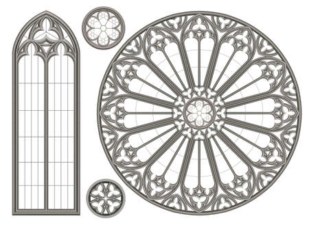 Realistic Gothic medieval stained glass window and stone arch with a shadow. Transparent shadow. Background or texture. Architectural element Vetores