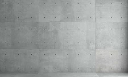 3d illustration. Gray concrete wall monolithic background. Industrial construction. Modern loft background