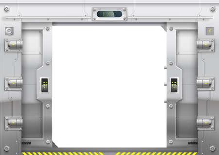 Futuristic metal armoured with sliding gate open Vektorgrafik