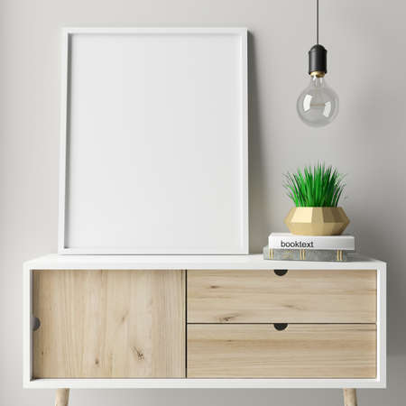 3d illustration. Mock up empty picture in a modern interior in a Scandinavian style minimalism. Eco interior. Wooden chest of drawers