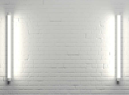 3d illustration. White old background brick wall with lamps. Studio interior